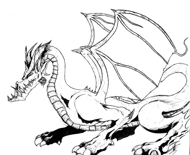 Simple Baby Dragon Coloring Pages