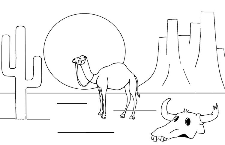 Simple Camel Coloring Page For Kids