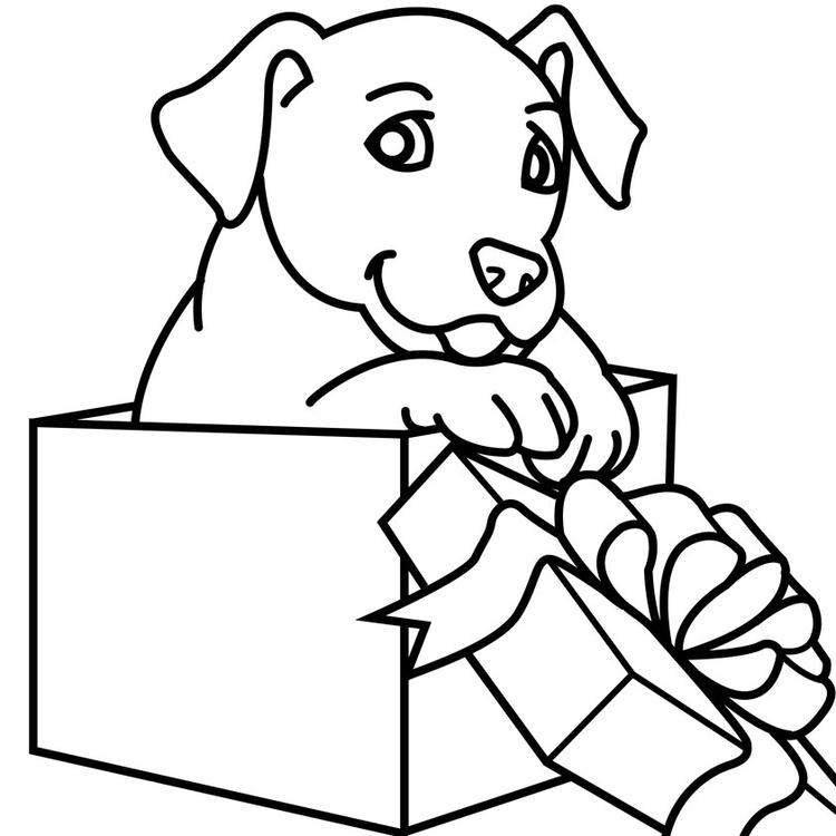 Simple Christmas Dog Coloring Pages