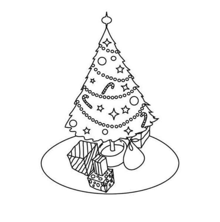 Simple Christmas Tree Coloring Pages For Kids Printable