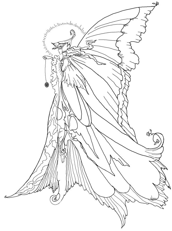 Simple Coloring Pages For Teenagers Difficult Fairy