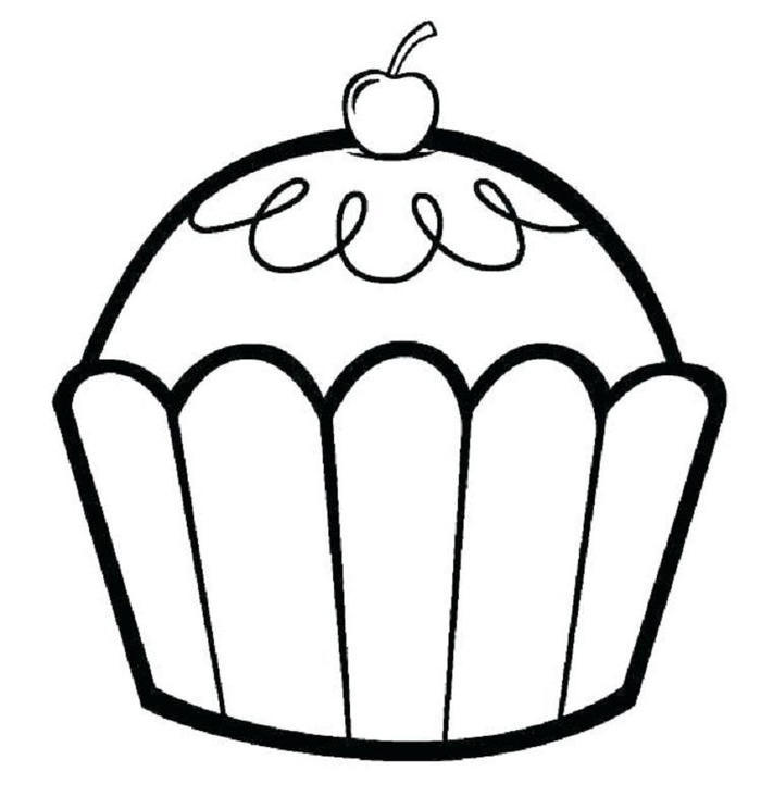 Simple Cupcakes Coloring Pages