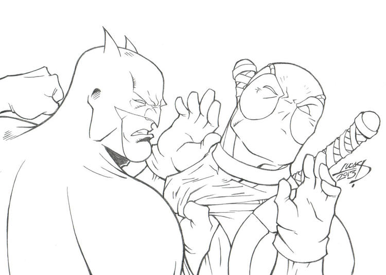 Simple Deathstroke Vs Deadpool Coloring Pages