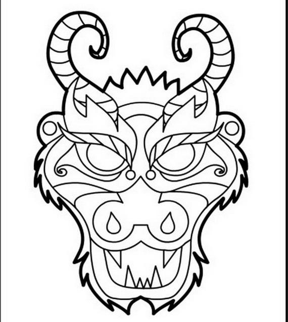 Simple Dragon Head Coloring Pages