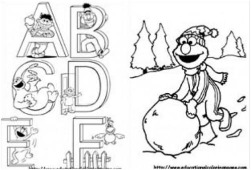 Simple Elmo Abc Coloring Pages 1