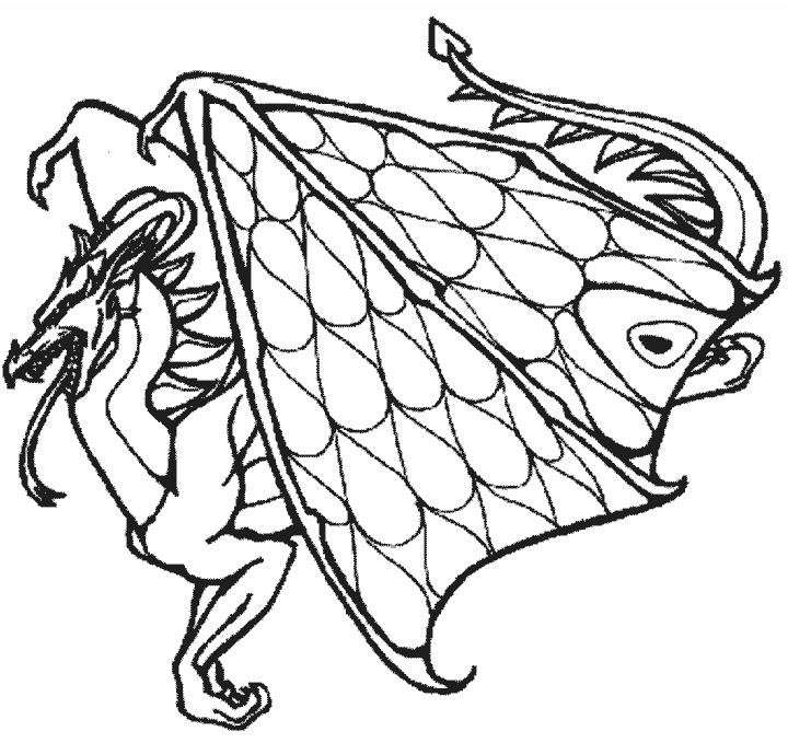 Simple Flying Dragon Coloring Pages