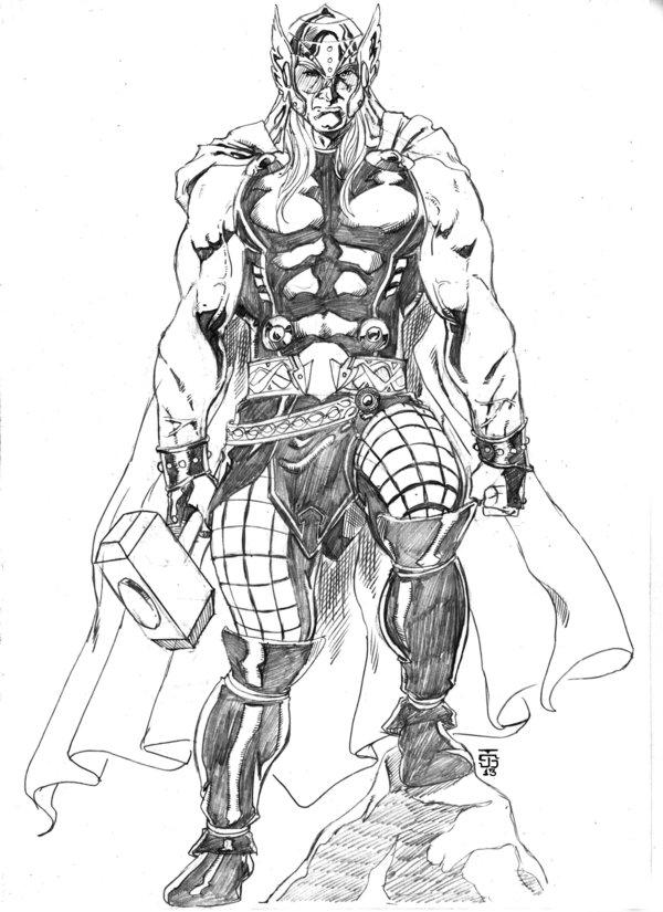 Simple Marvel Coloring Pages Thor 1