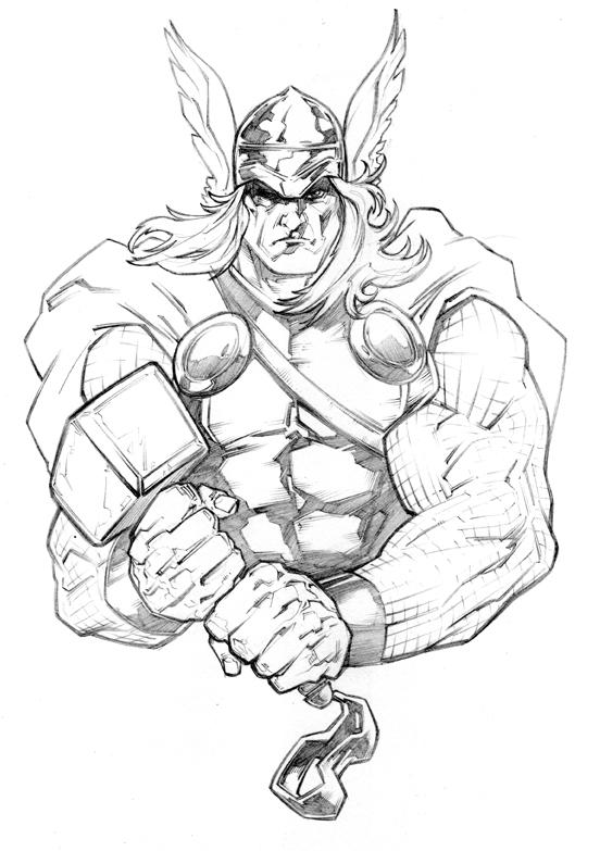 Simple Marvel Coloring Pages Thor 2