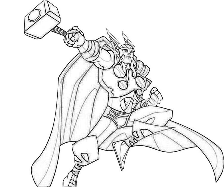 Simple Marvel Coloring Pages Thor