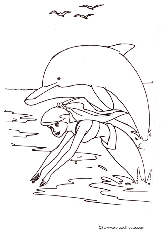 Simple Mermaid Dolphin Coloring Pages