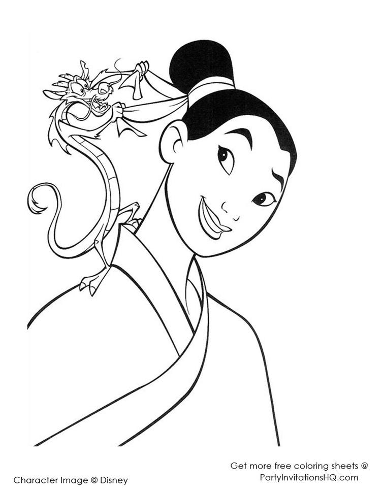 Simple Mulan Coloring Pages