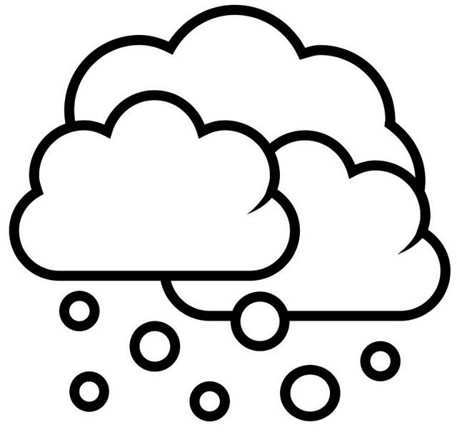 Simple Snow Cloudy Coloring Page For Kids
