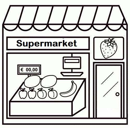 Simple Supermarket Coloring Page