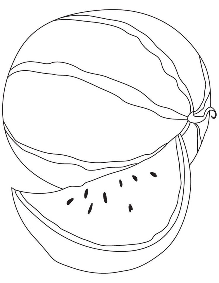 Simple Watermelon Fruit Coloring Pages