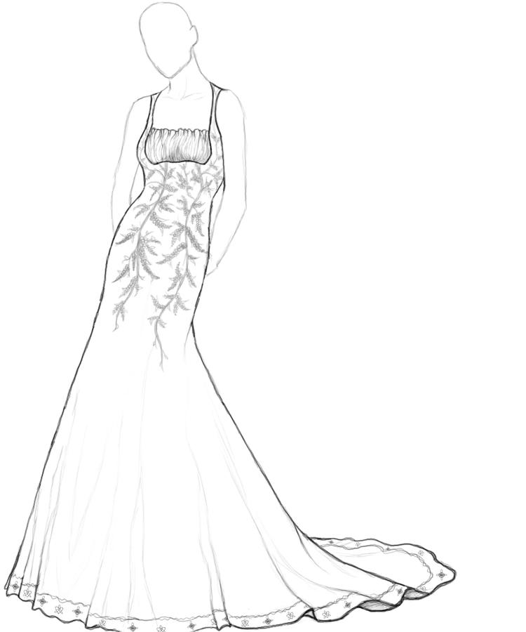 Simple Wedding Dress Coloring Pages
