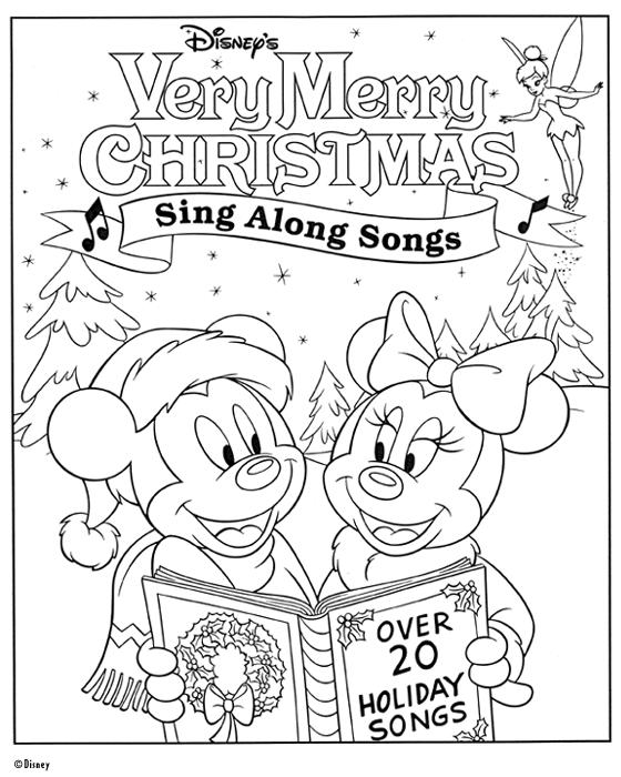 Singing Mickey Mouse Christmas Coloring Pages