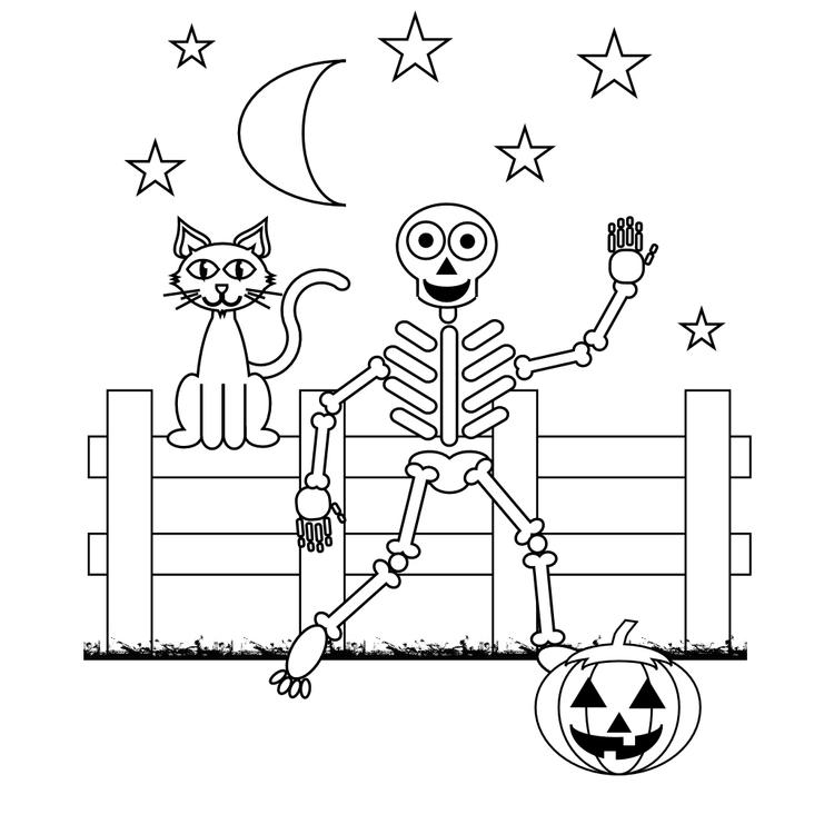 Skeleton Coloring Pages Halloween