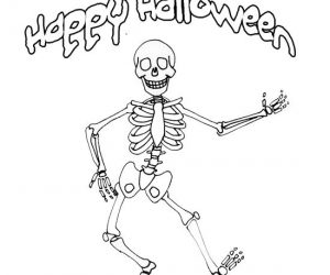 Skeleton coloring pages happy halloween