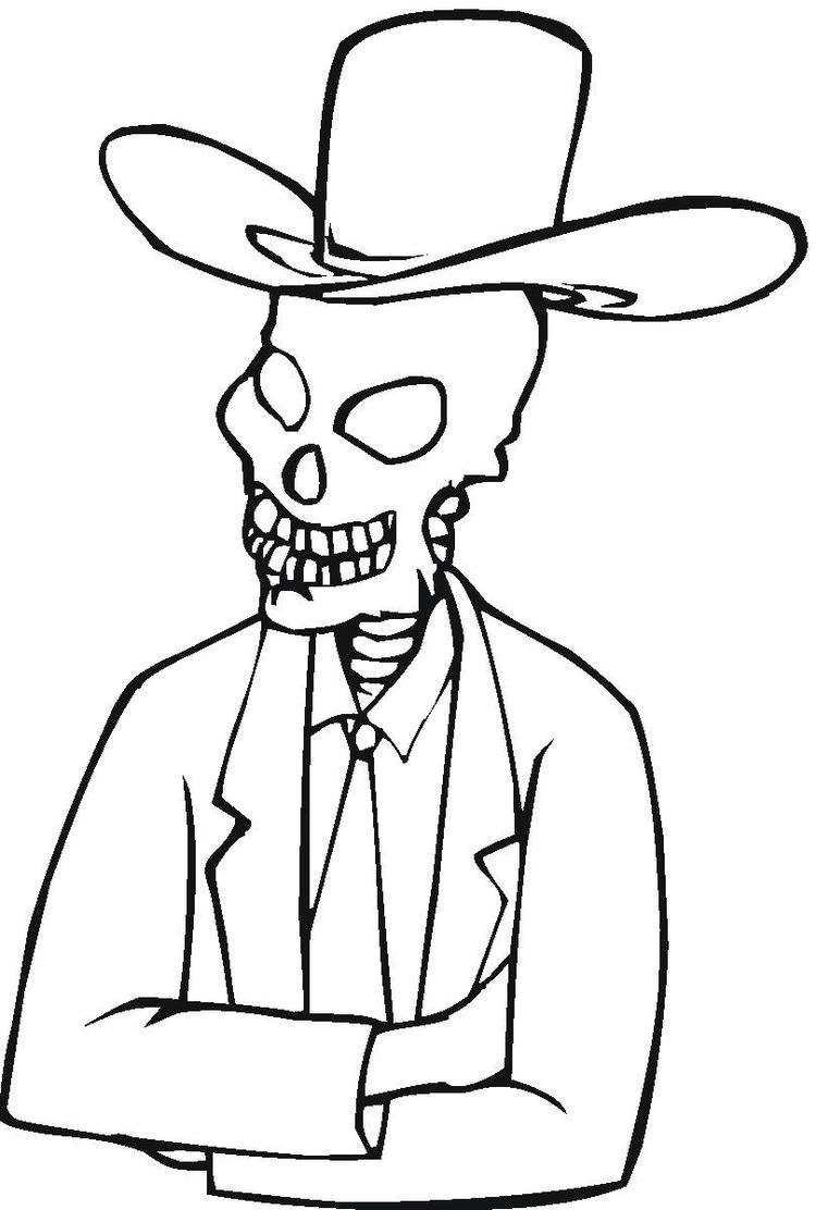 Skeleton Coloring Pages Wearing Hat