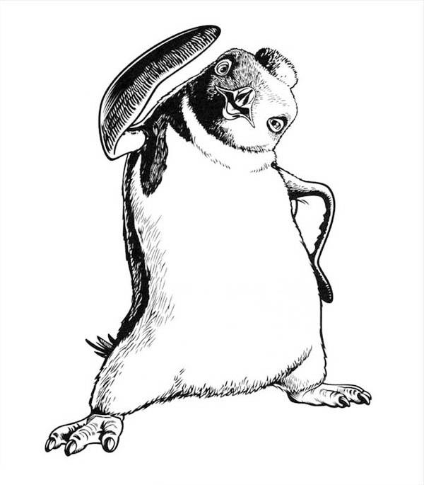 Sketch Of Happy Feet Character Coloring Pages