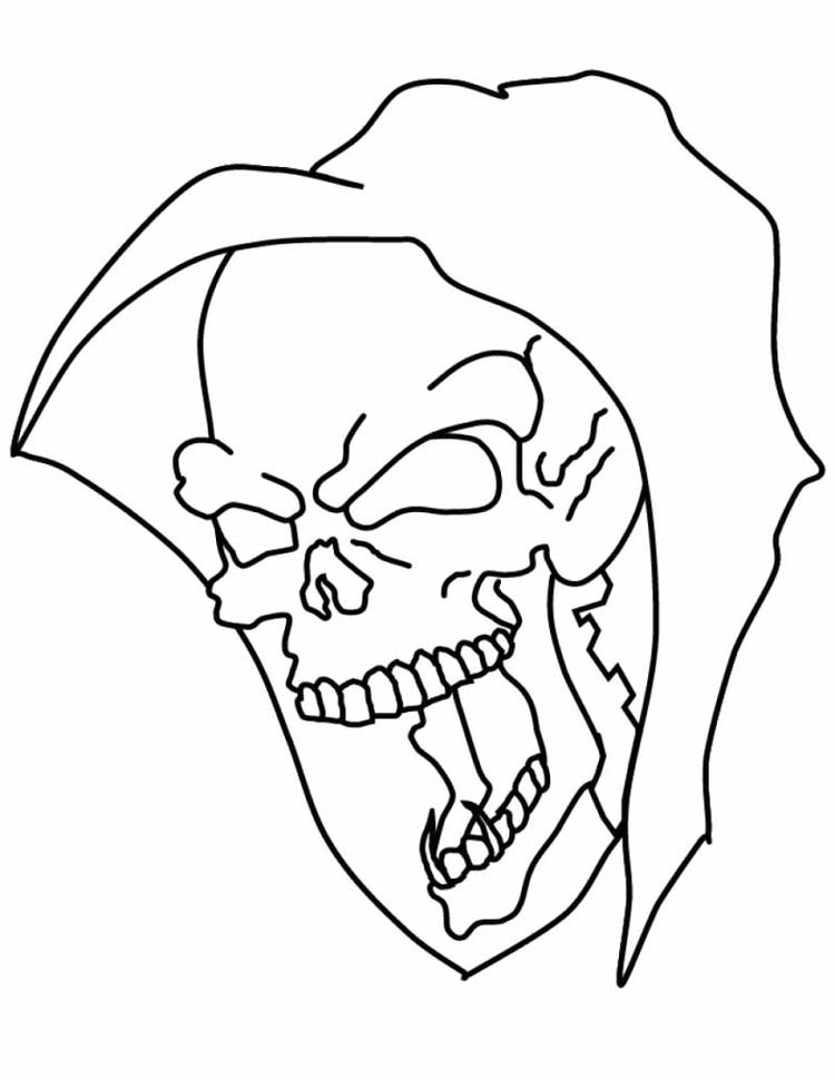 Skull Coloring Pages Grim Reaper