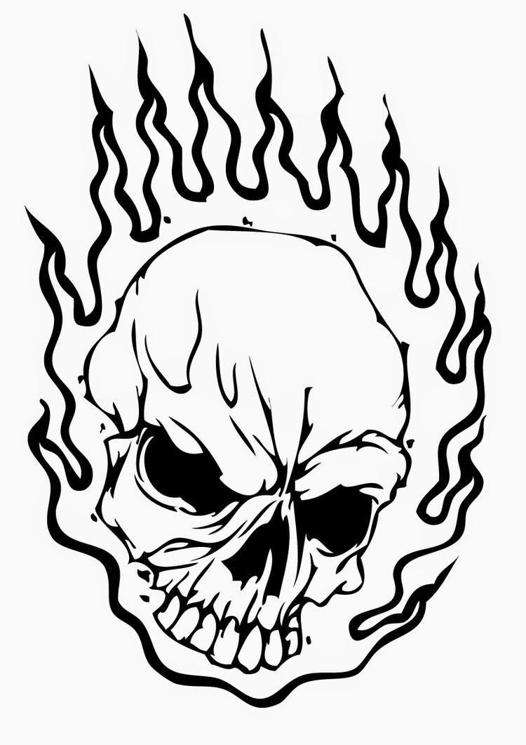 Skull Coloring Pages On Fire