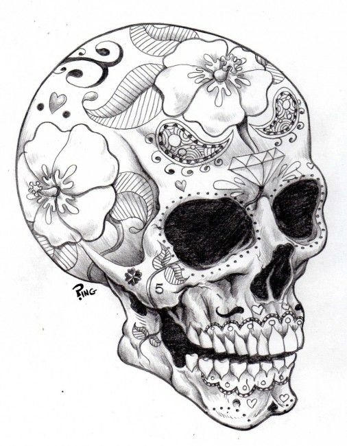 Skull Coloring Pages Printable For Adults