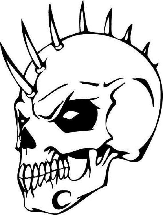 Skull Coloring Pages Punk