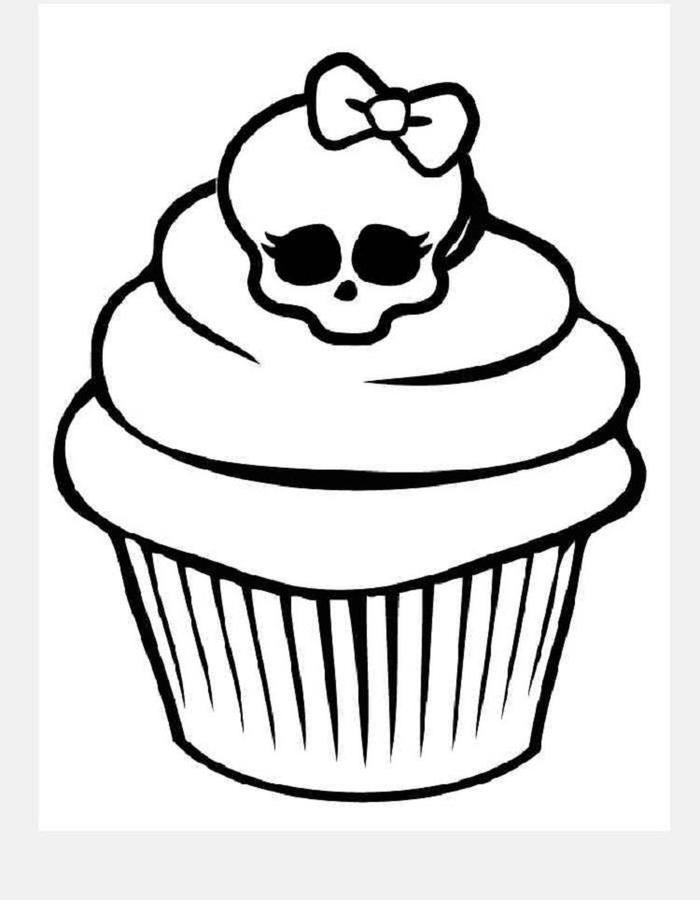 Skull Cupcakes Coloring Pages