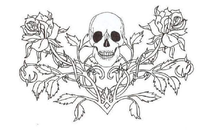 Skull Gothic Fairies Coloring Pages