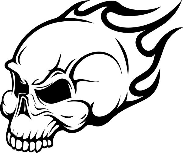 Skull On Fire Coloring Pages