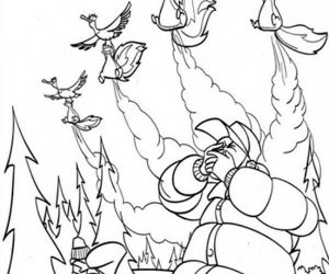 Skunk attack the hunters with bad smells in open season coloring pages