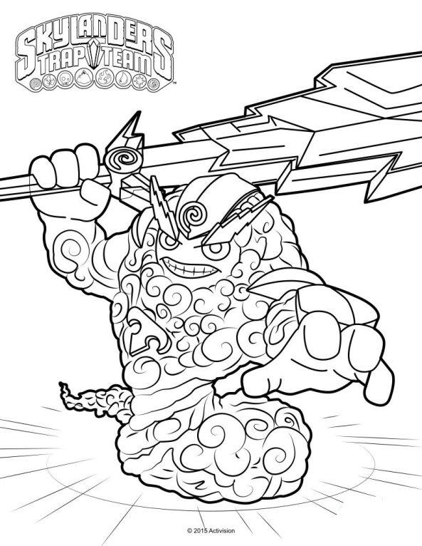 Skylanders trap team coloring pages thunder bolt