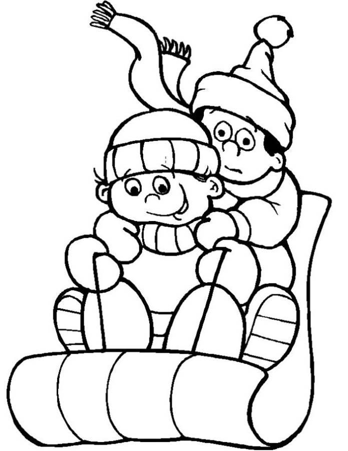 Sledding On Snow Winter Coloring Pages