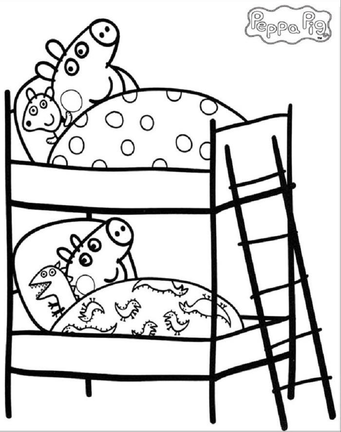 Sleeping Peppa Pig Coloring Pages