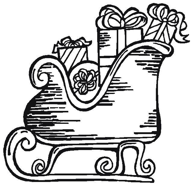 Sleighs Santa Free Coloring Christmas Pages