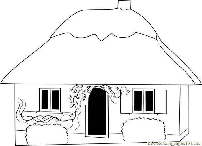 Small Cottage House Coloring Pages