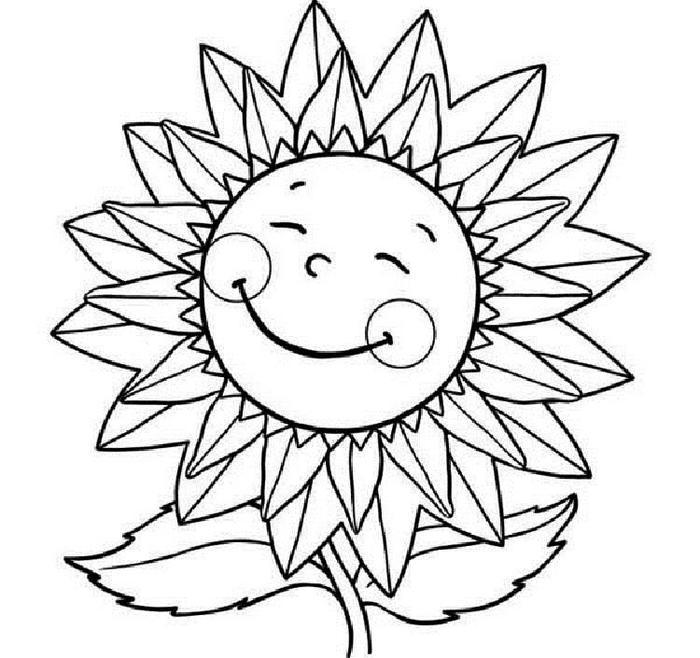 Smiley Sunflower Coloring Pages
