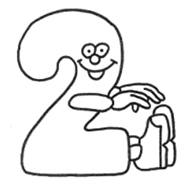 Smiling Number 2 Coloring Page