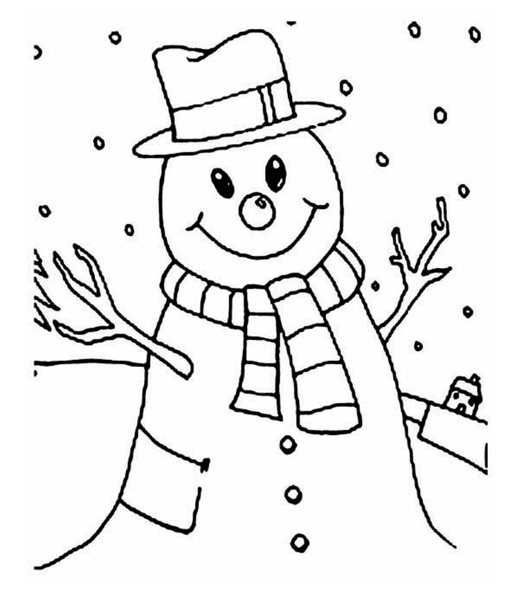 Smiling snowman coloring pages