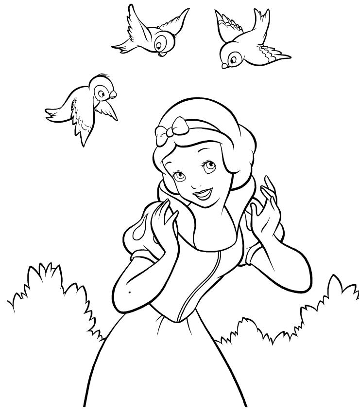 Snow White Coloring Pages And Birds
