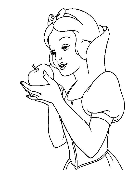 Snow White Coloring Pages Eat Apple