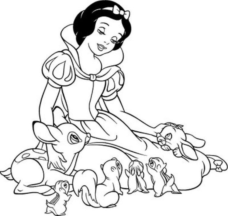 Snow White Coloring Pages With Animals