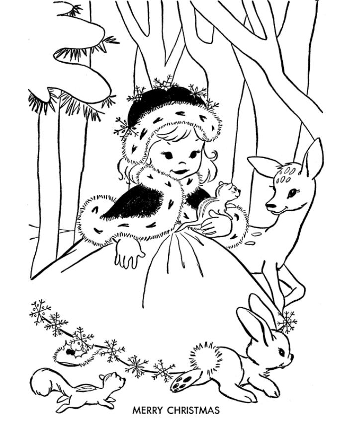 Snow White Merry Christmas Coloring Page