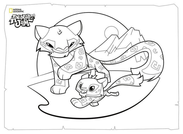 Snow Leopard And Her Cub Animal Jam Character Coloring Picture