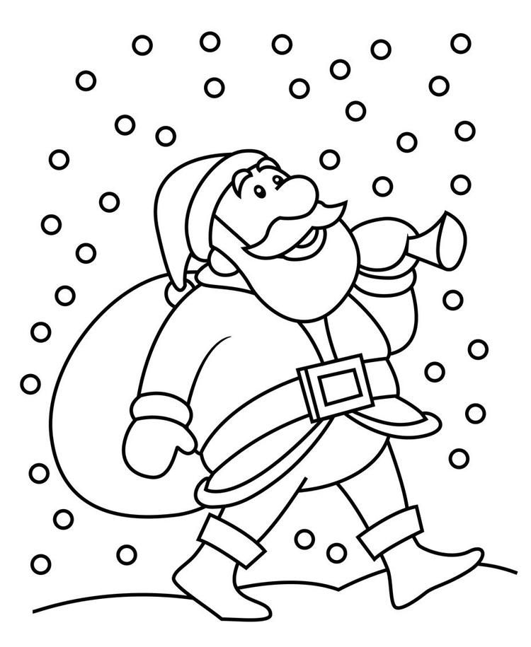 Snowfall And Santa Christmas Coloring Pages For Kids