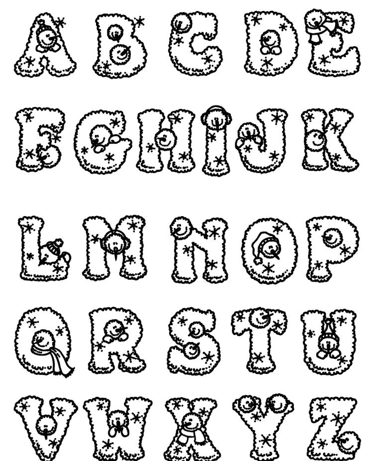 Snowman Alphabet Coloring Pages Printable