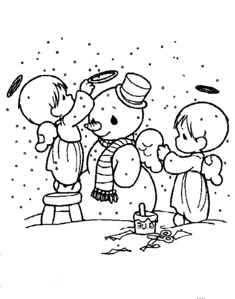 Snowman Coloring Pages Cute Angels Decorating Snowman