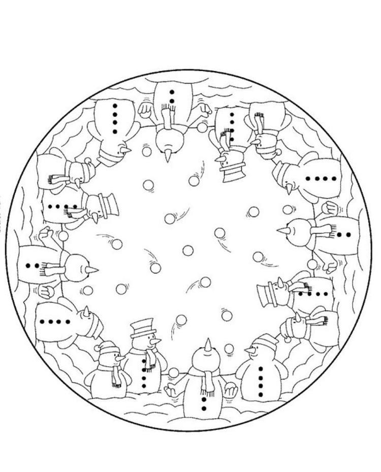 Snowman Coloring Pages For Children In Winter