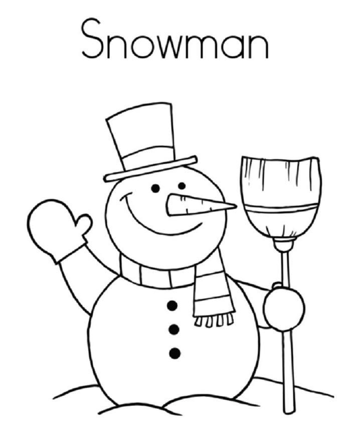 Snowman Coloring Pages For Kindergartens